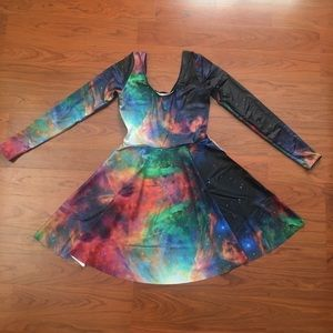 BlackMilk Clothing Rainbow Galaxy Skater Dress